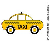 taxi car icon on white... | Shutterstock .eps vector #203633587