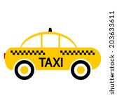 taxi car icon on white... | Shutterstock .eps vector #203633611