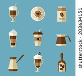 coffee icons  flat design | Shutterstock .eps vector #203634151
