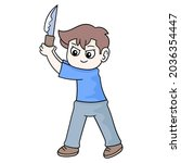 boy is standing holding a sharp ...   Shutterstock .eps vector #2036354447