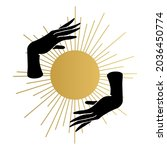 woman hands with the sun. wicca ...   Shutterstock .eps vector #2036450774
