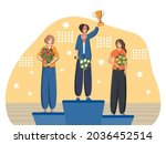 three women   champions with... | Shutterstock .eps vector #2036452514