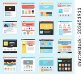 set of flat website templates....
