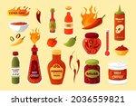 hot sauce. cartoon spicy chilli ...   Shutterstock .eps vector #2036559821