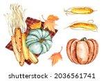 Pumpkins  Corn  Fall Leaves ...