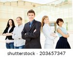 group of friendly... | Shutterstock . vector #203657347