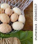 Chicken Eggs In A String Bag...