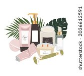 3 step skincare products ... | Shutterstock .eps vector #2036612591