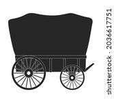 wild west wagon black vector...   Shutterstock .eps vector #2036617751