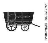wild west wagon black vector...   Shutterstock .eps vector #2036617754
