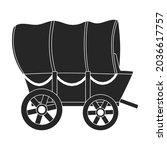 wild west wagon black vector...   Shutterstock .eps vector #2036617757