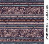 tribal vintage ethnic seamless... | Shutterstock .eps vector #203663101