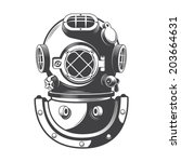 vintage diving helmet | Shutterstock .eps vector #203664631