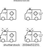ambulance icons set isolated on ...