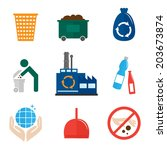 garbage recycling icons flat... | Shutterstock . vector #203673874