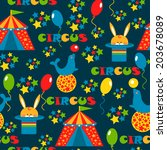 seamless pattern with cute... | Shutterstock .eps vector #203678089