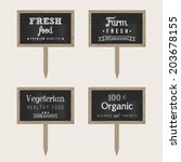 wooden chalk food signs | Shutterstock .eps vector #203678155