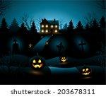 blue scary halloween haunted...   Shutterstock .eps vector #203678311