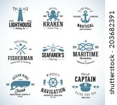 Set of Vintage Nautical Labels and Signs With Retro Typography Anchors Steering Wheel Knots Seagulls and Wale
