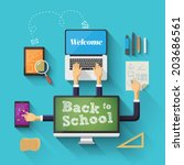 back to school with devices.... | Shutterstock .eps vector #203686561
