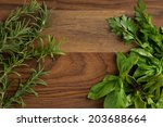 fun with food  fresh basil on... | Shutterstock . vector #203688664