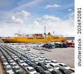 cargo sea port. sea cargo... | Shutterstock . vector #203692081