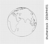 pencil drawn world. raster... | Shutterstock . vector #203694451