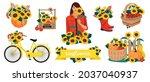 sunflowers vector set  flowers  ... | Shutterstock .eps vector #2037040937