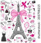 Hand-drawn doodle collection of Paris symbols