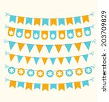 bunting set pastel orange and