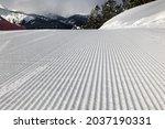 Ski Slope Prepared For Skiing...