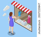 isometric woman looks at the... | Shutterstock .eps vector #2037220847