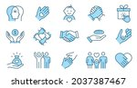 charity line icon set.... | Shutterstock .eps vector #2037387467