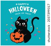 vintage halloween poster design ... | Shutterstock .eps vector #2037399317