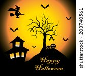 vector illustration  halloween  ... | Shutterstock .eps vector #203740561