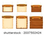 set wood frames  banners with...