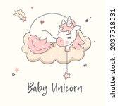 baby unicorn sleeping on the... | Shutterstock .eps vector #2037518531