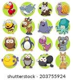 Stock vector vector illustration of animals set cartoon 203755924