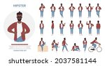 african american black hipster... | Shutterstock .eps vector #2037581144