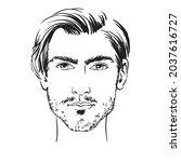 young beautiful man with beard  ... | Shutterstock .eps vector #2037616727