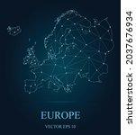 map of europe on dark...   Shutterstock .eps vector #2037676934