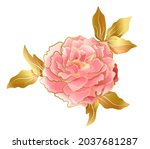 soft pink peony flower with...   Shutterstock .eps vector #2037681287