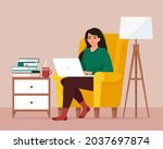 woman with laptop  sitting on...   Shutterstock .eps vector #2037697874