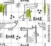 vector hand drawn seamless... | Shutterstock .eps vector #2037698927