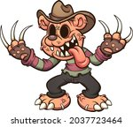 evil teddy bear with big claws. ... | Shutterstock .eps vector #2037723464