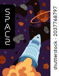 space exploration or travel... | Shutterstock .eps vector #2037768797
