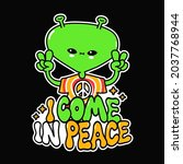 funny cute happy alien show...   Shutterstock .eps vector #2037768944