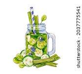 green smoothie. watercolor...   Shutterstock . vector #2037775541