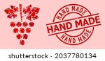 textured hand made badge  and... | Shutterstock .eps vector #2037780134