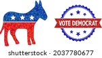 low poly republican donkey... | Shutterstock .eps vector #2037780677